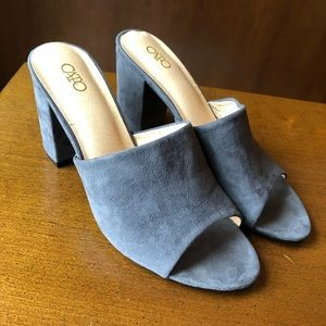 Cato | Faux Suede Block Heel Slides Sandals